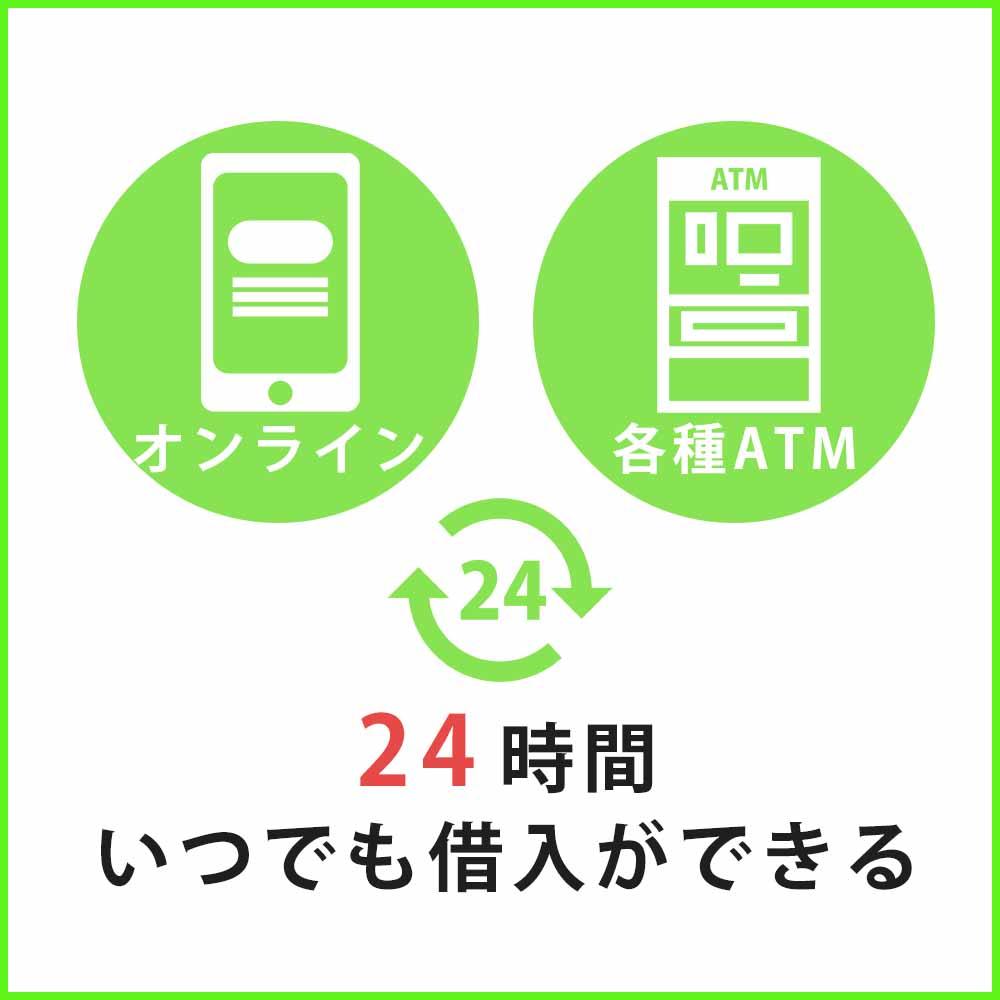 アコムならオンラインや各種ATMから24時間借入ができる